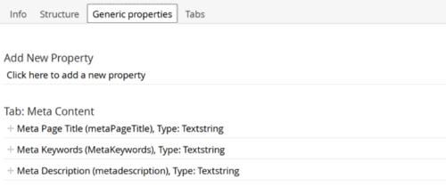 SitePage document type properties